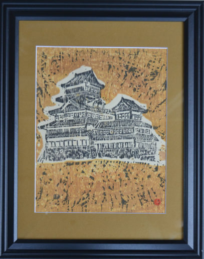 Japanese castle woodblock by George Ledyard Framed